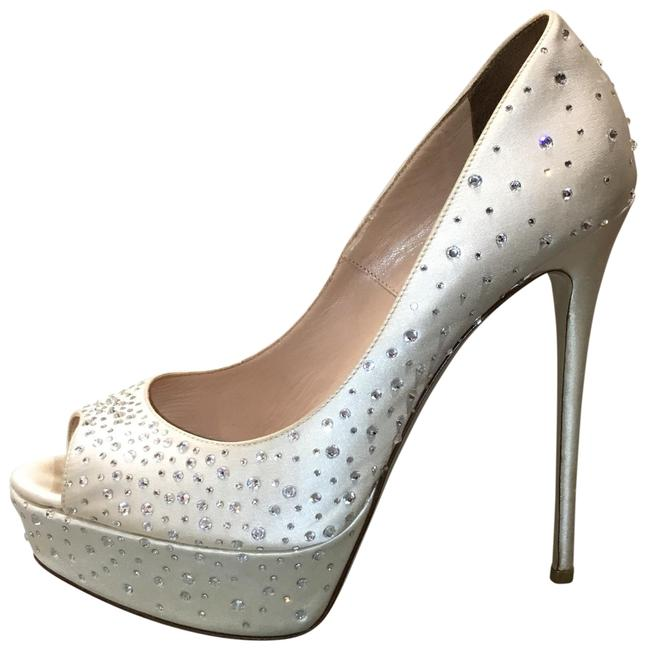 Item - White Jeweled with Swarovski Crystals Formal Shoes Size EU 38 (Approx. US 8) Regular (M, B)
