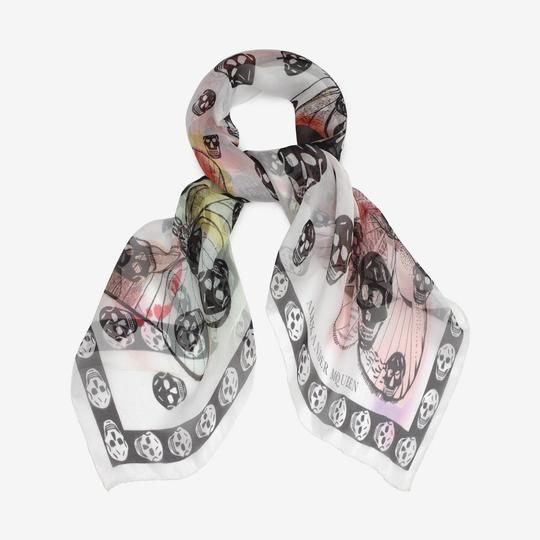 Alexander McQueen ALEXANDER MCQUEEN SKULL ON BUTTERFLY SILK SCARF Sold Out Image 2