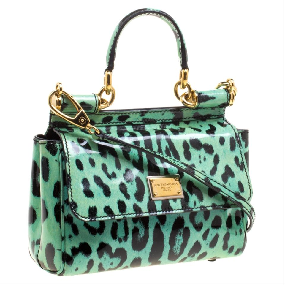 cce539f24e9a Dolce Gabbana Leopard Print Small Miss Sicily Green Patent Leather ...