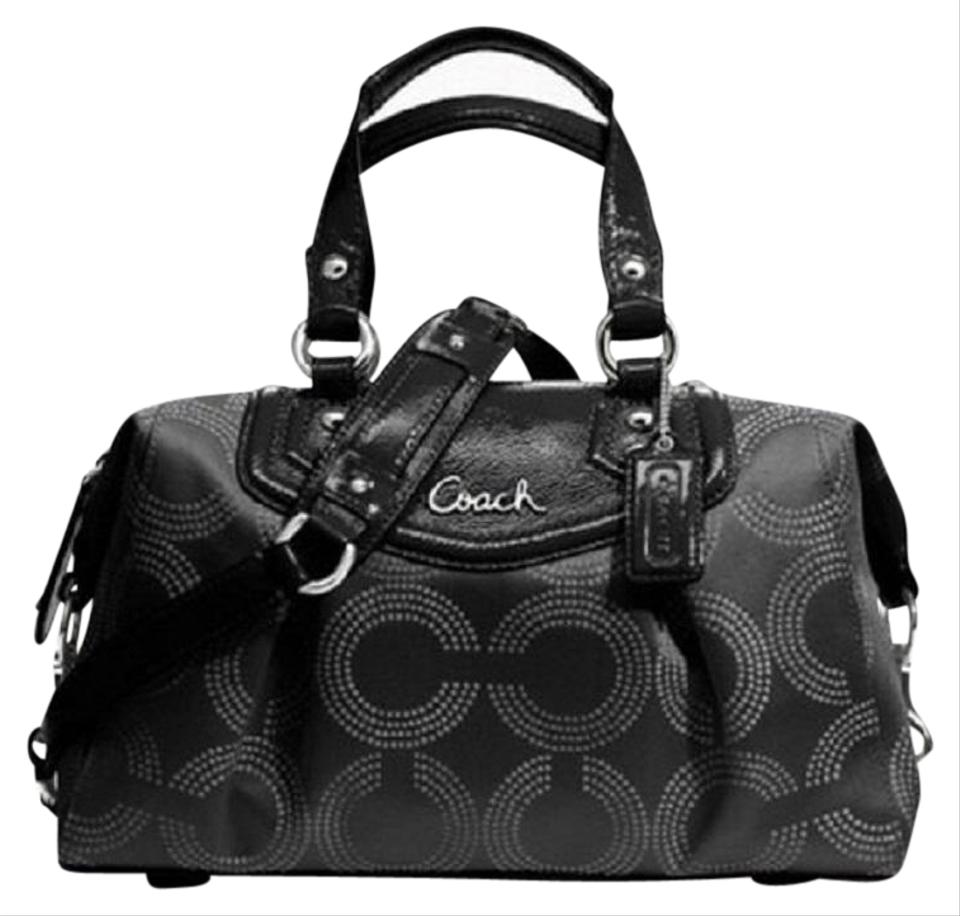 7beeefc5d Coach Ashley Rare Dotted Op Art Convertible Black/Gray/Silver  Sateen/Genuine Leather/Patent Leather Satchel