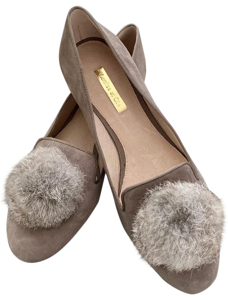 312dc13a594 Louise et Cie Gray Andres Genuine Rabbit Fur Pom Loafer Flats Size ...