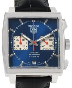 TAG Heuer Tag Heuer Monaco Calibre 12 Blue Dial Black Strap Mens Watch CAW2111