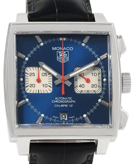 TAG Heuer Tag Heuer Monaco Calibre 12 Blue Dial Black Strap Mens Watch CAW2111 Image 0