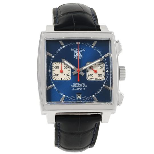 TAG Heuer Tag Heuer Monaco Calibre 12 Blue Dial Black Strap Mens Watch CAW2111 Image 1