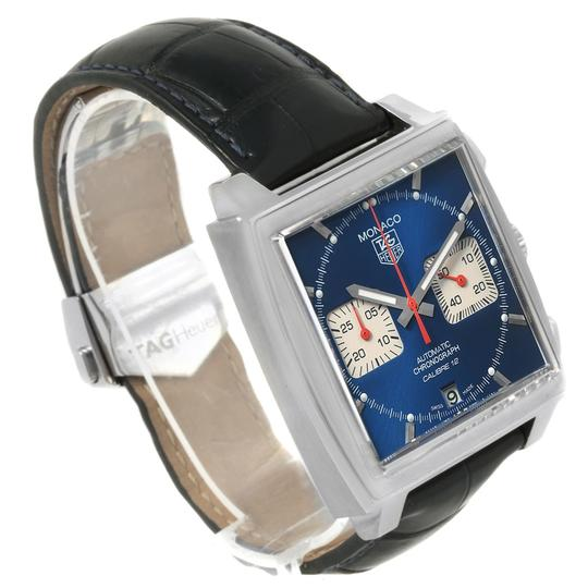 TAG Heuer Tag Heuer Monaco Calibre 12 Blue Dial Black Strap Mens Watch CAW2111 Image 2