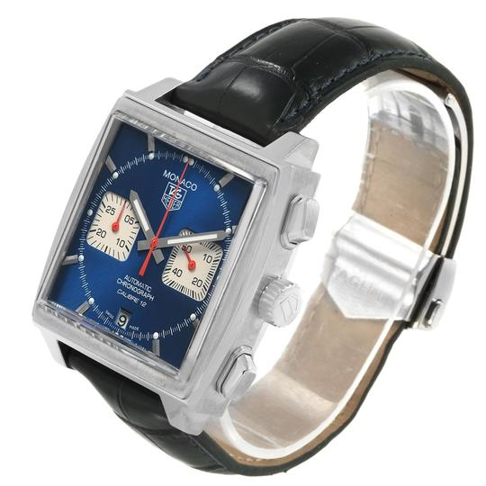 TAG Heuer Tag Heuer Monaco Calibre 12 Blue Dial Black Strap Mens Watch CAW2111 Image 3