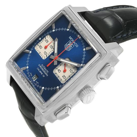 TAG Heuer Tag Heuer Monaco Calibre 12 Blue Dial Black Strap Mens Watch CAW2111 Image 4