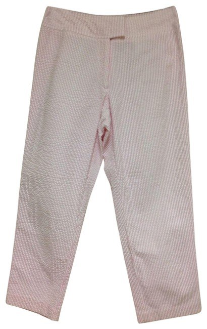 Item - Pink & White Seersucker Cotton Pants Size Petite 6 (S)