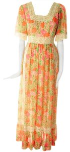 Pink and Yellow Maxi Dress by Lilly Pulitzer Vintage Rare Flower Tropical Hawaiian