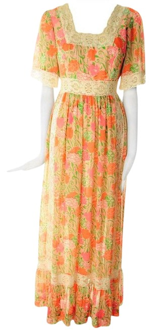 """Item - Pink and Yellow Rare 1968 """"The Floral Peasant Long Casual Maxi Dress Size OS"""