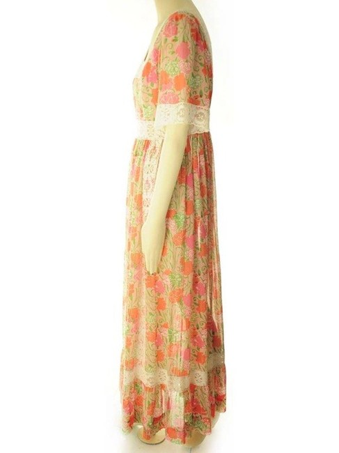 Pink and Yellow Maxi Dress by Lilly Pulitzer Vintage Rare Flower Tropical Hawaiian Image 1