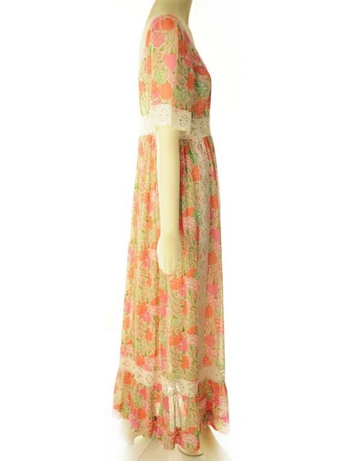 Pink and Yellow Maxi Dress by Lilly Pulitzer Vintage Rare Flower Tropical Hawaiian Image 2