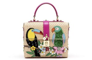 Dolce&Gabbana Limited Edition Box Runway Parrot Satchel in BEIGE & PINK