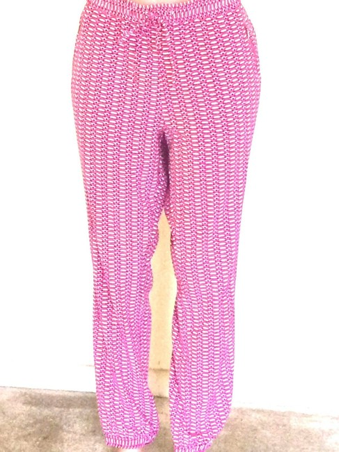 New York & Company Capri/Cropped Pants Pink and White Image 3