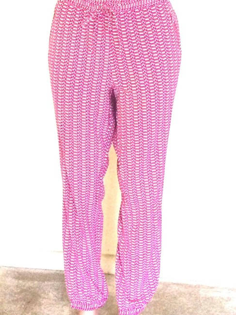 New York & Company Capri/Cropped Pants Pink and White Image 4