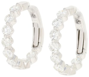 Other NEW Inside-Out Diamond Hoop Earrings - 14k White Gold Pierced Round Cu
