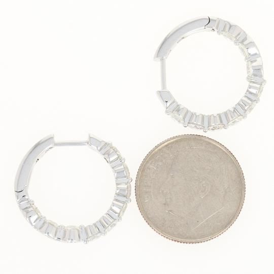 Other NEW Inside-Out Diamond Hoop Earrings - 14k White Gold Pierced Round Cu Image 3
