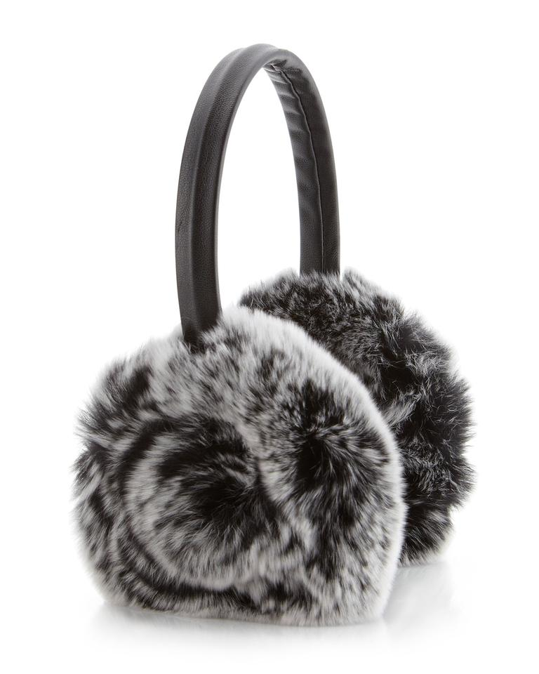 511766590c Adrienne Landau Black Snow Top Rosette Fur Ear Muffs Hat - Tradesy