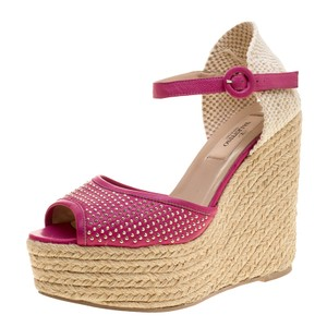 Valentino Studded Leather Espadrille Wedge Ankle Pink Sandals