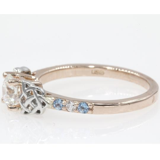 14k Rose Gold .65 Carat Round Cut Side Stone with Blue Topaz Engagement Ring Image 1