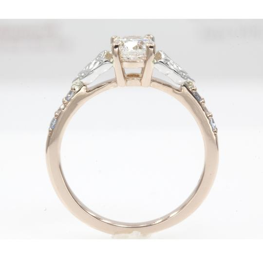 14k Rose Gold .65 Carat Round Cut Side Stone with Blue Topaz Engagement Ring Image 2