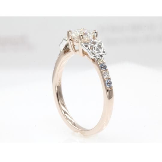 14k Rose Gold .65 Carat Round Cut Side Stone with Blue Topaz Engagement Ring Image 3