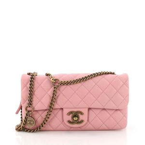 c9babddbae54 Chanel Classic Flap Cc Crown Quilted Small Pink Leather Shoulder Bag ...