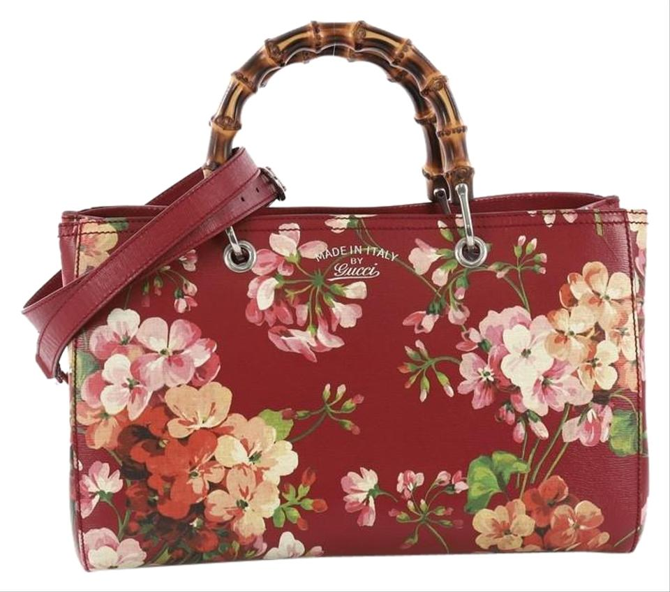 9863ca99029 Gucci Bamboo Shopper Blooms Print Medium Red Leather Tote - Tradesy