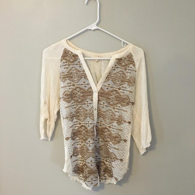 Anthropologie Button Down Shirt Gold Image 1