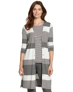Chico's Rayon Jersey Duster Striped Cardigan