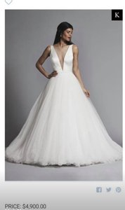 Pnina Tornai Ivory Satin Tulle Silk 4516 Modern Wedding Dress Size 8 (M)