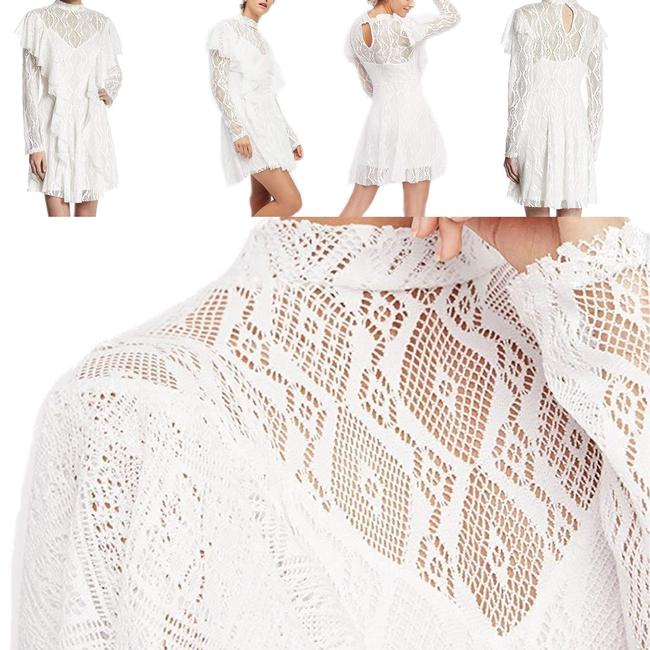 Free People short dress White Lace Keyhole Longsleeve Mini Ruffle on Tradesy Image 1