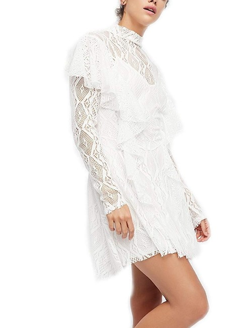 Free People short dress White Lace Keyhole Longsleeve Mini Ruffle on Tradesy Image 2