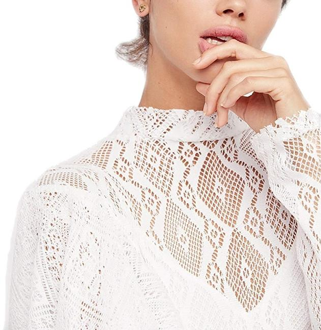 Free People short dress White Lace Keyhole Longsleeve Mini Ruffle on Tradesy Image 3