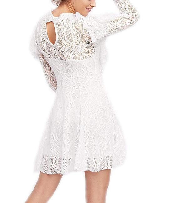 Free People short dress White Lace Keyhole Longsleeve Mini Ruffle on Tradesy Image 4