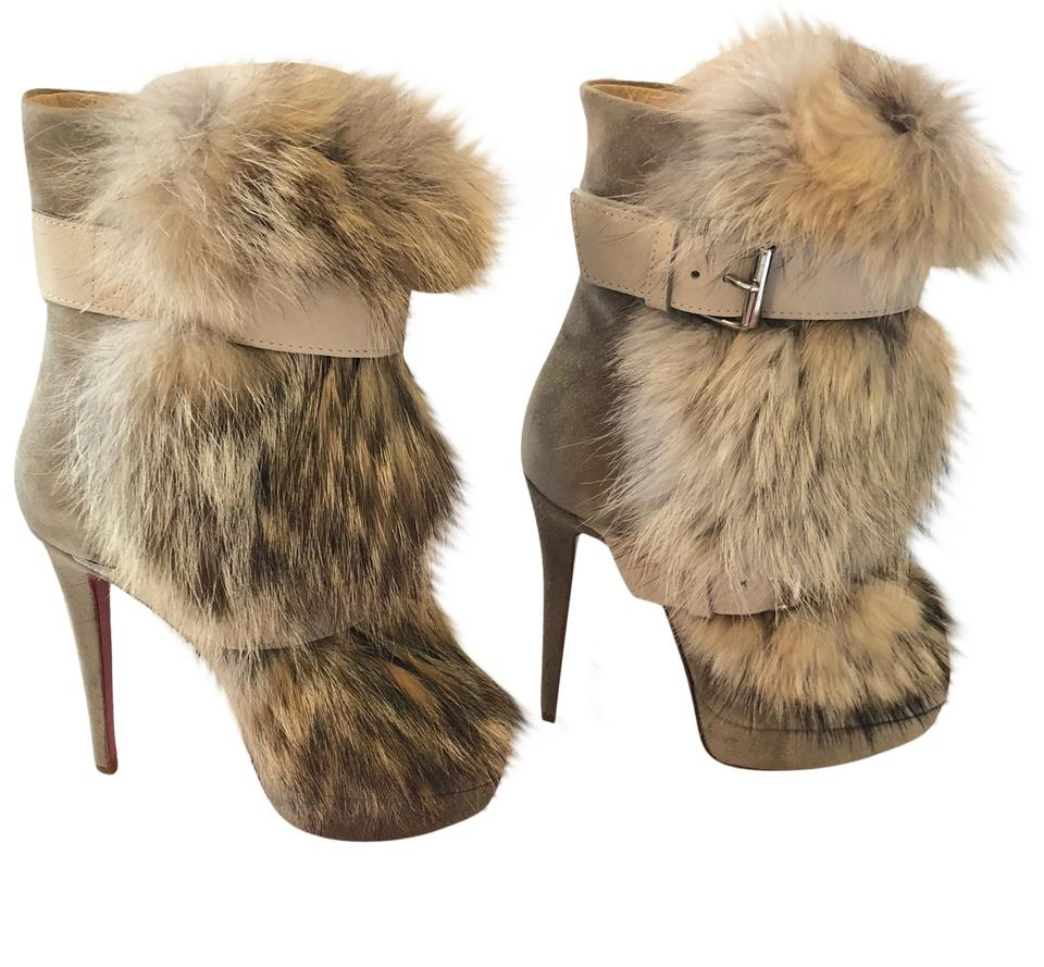 beb44f0a64a9 Christian Louboutin Natural Toundra Coyote Fur Trimmed Suede Boots ...