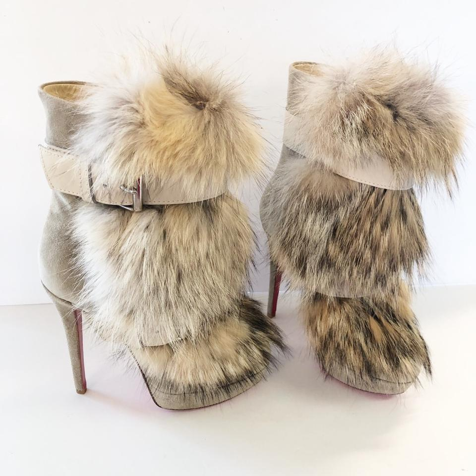 d0020af6f594 Christian Louboutin Natural Toundra Coyote Fur Trimmed Suede Boots Booties  Size EU 36 (Approx. US 6) Regular (M