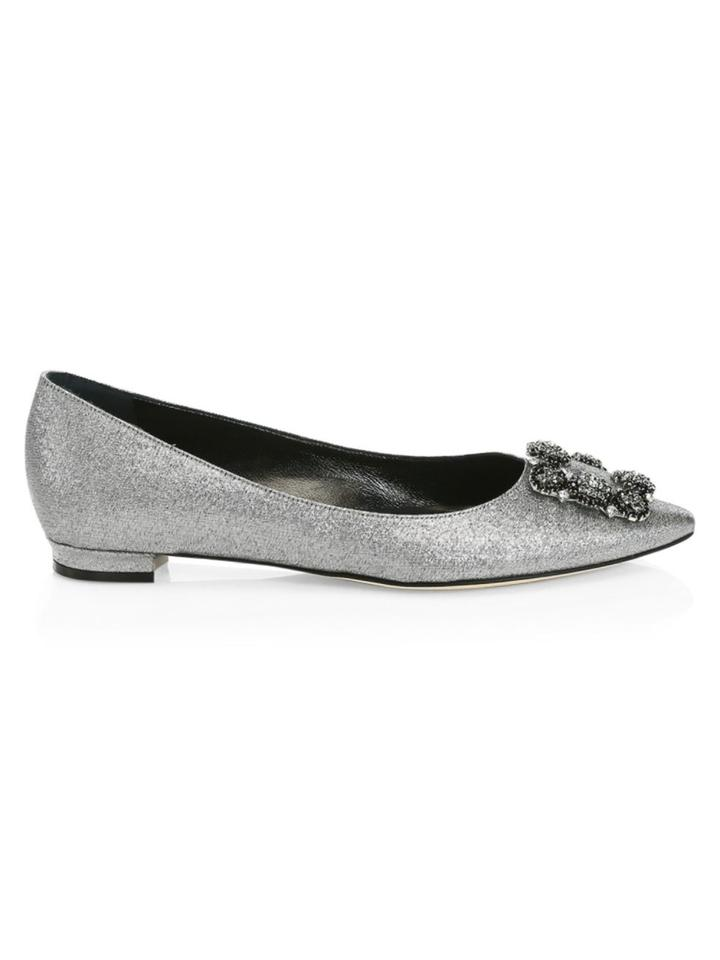 Silver Flats For Wedding.Manolo Blahnik Silver Hangisi Ornella Embellished Flats Size Eu 39 Approx Us 9 Regular M B