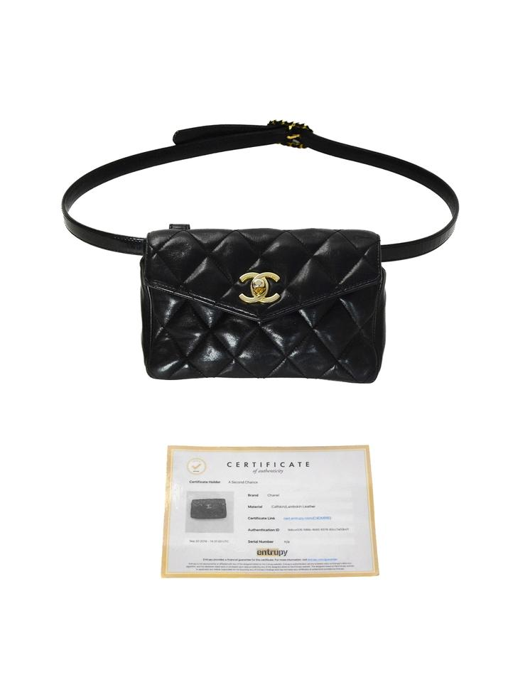 2ab3de4b4e58 Chanel Waist Quilted Belt with Patent Belt 34 Black Lambskin Leather ...