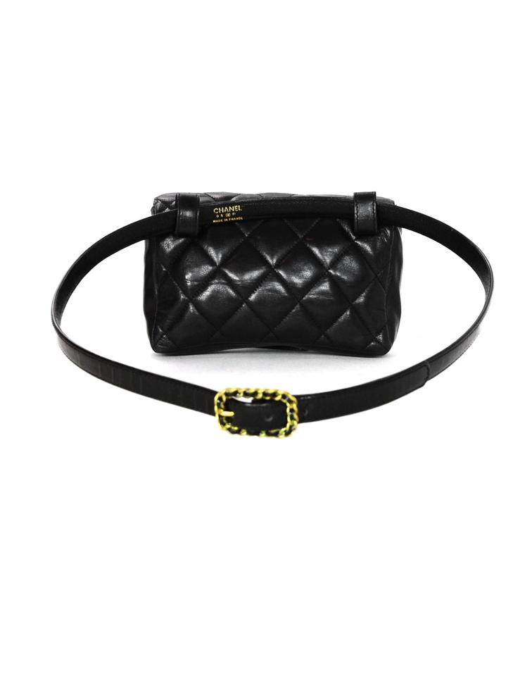 7ebe812b00c7 Chanel Waist Quilted Belt with Patent Belt 34 Black Lambskin Leather Weekend /Travel Bag - Tradesy