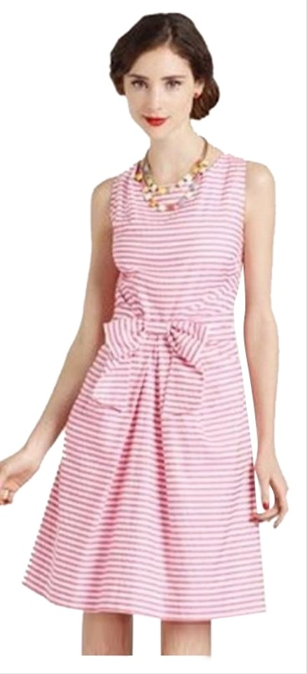 9ca037ccde2 Kate Spade Pink White Striped Nautical Mid-length Cocktail Dress ...