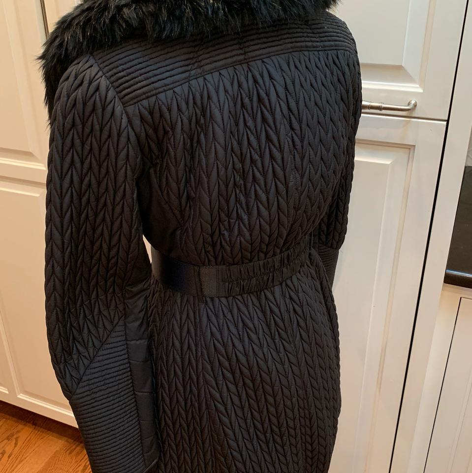 219c41ae43b Karen Millen Black Faux-fur Quilted Belted Coat Size 6 (S) - Tradesy