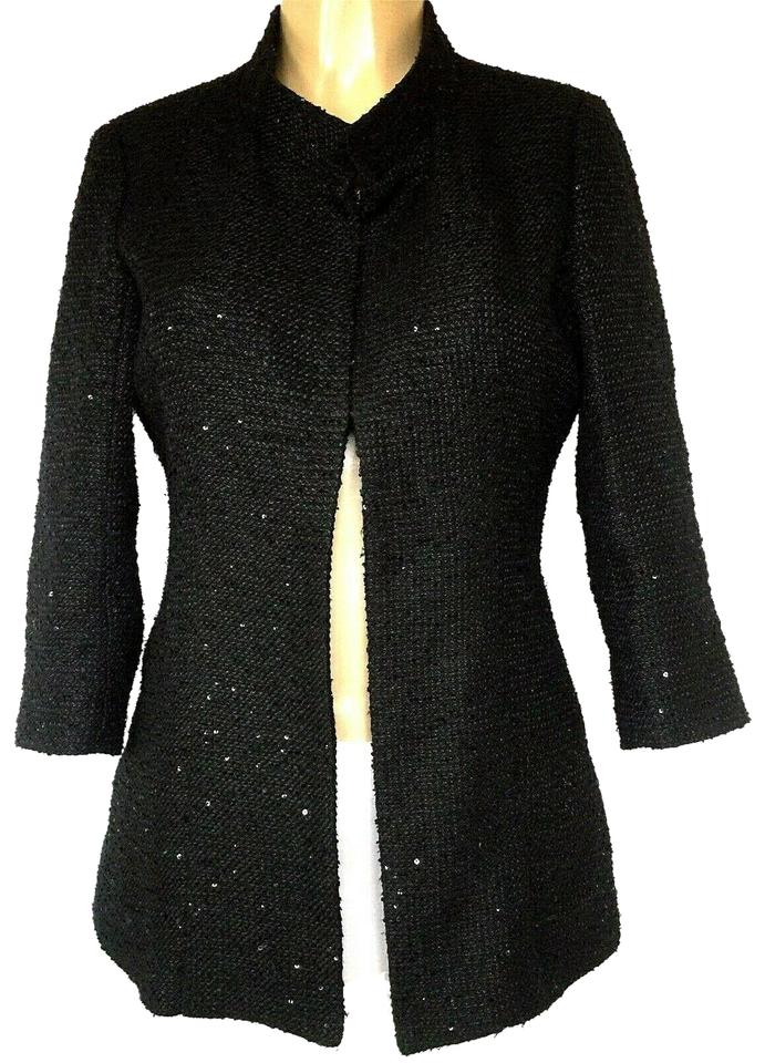 52972c5b277 Chanel Black Tweed Sequin Jacket Uniform Employee 3 4 Sleeve Blazer ...