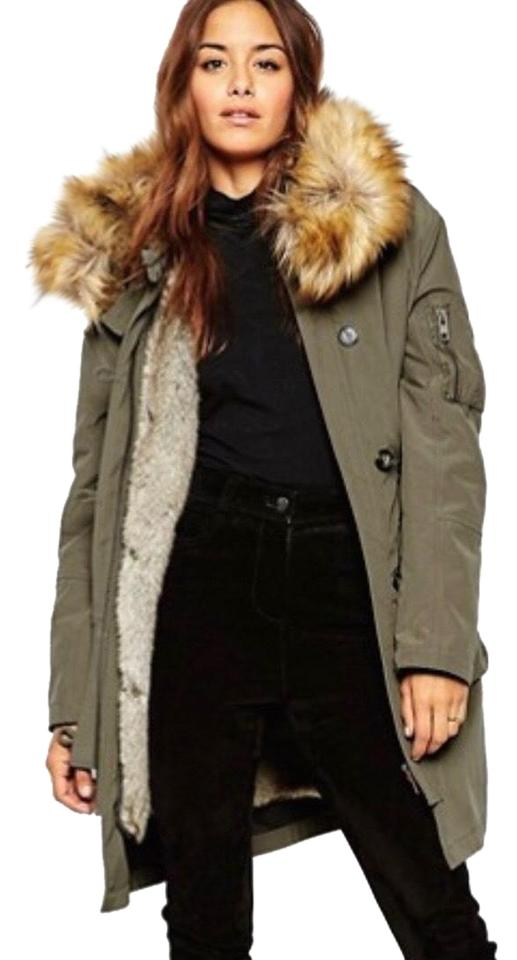 c746d6ebb620a ASOS Military Green Parka with Detachable Faux Fur Liner Jacket Size ...