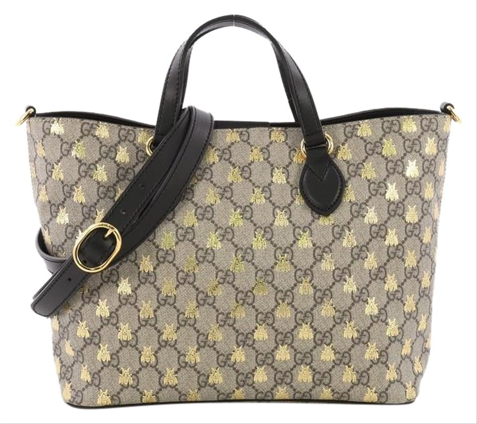 f0aa45c34947 Gucci Convertible Soft Printed Gg Coated Small Brown Canvas Tote ...