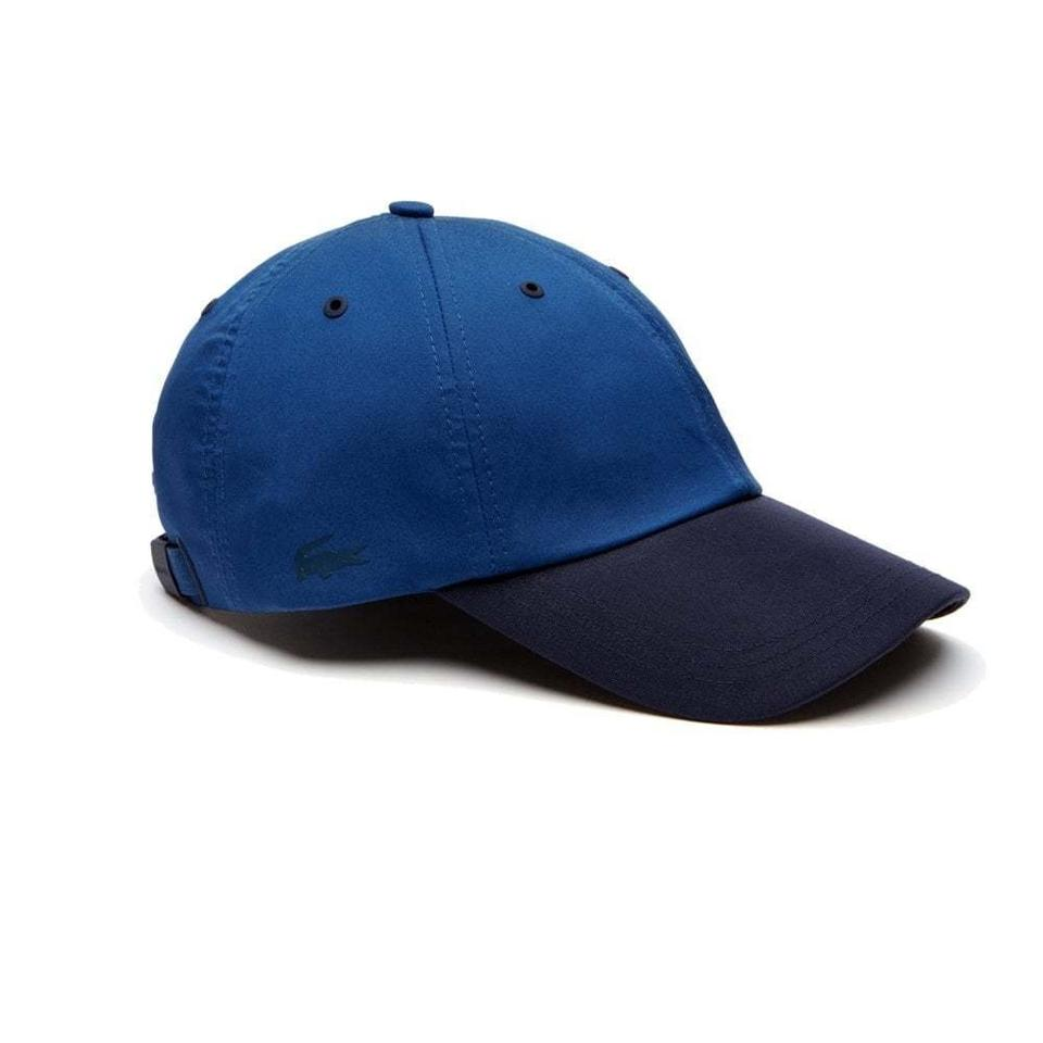 Lacoste BRAND NEW LACOSTE NAVY BLUE CONTRAST VISOR COTTON STRETCH BASEBALL  CAP ... f1dd5c34412