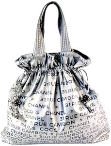 Chanel Metallic Drawstring Print Vinyl Tote in silver
