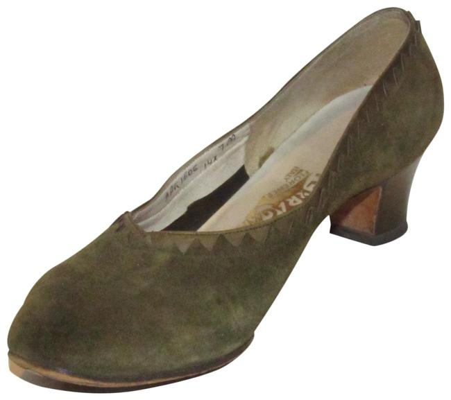 Item - Olive Green Suede and Leather Kitten Heels Pumps Size US 7 Narrow (Aa, N)