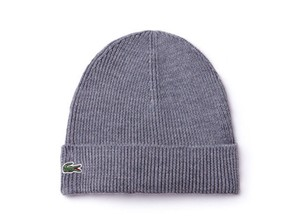 Lacoste BRAND NEW MEN'S LACOSTE (RB3502) TURNED EDGE RIBBED WOOL GREY BEANIE H