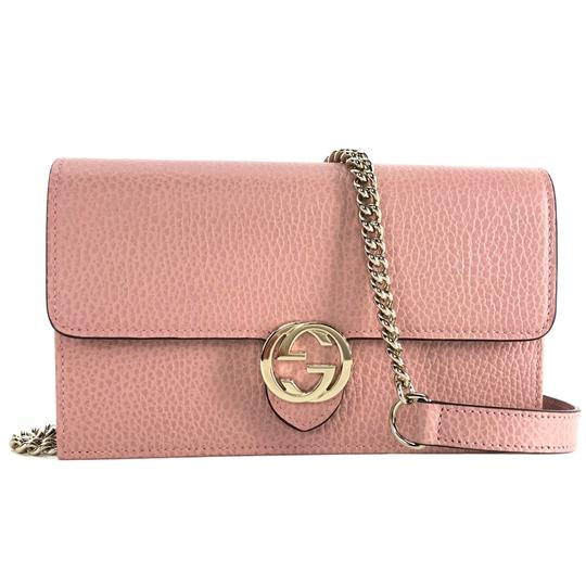 b11724eba18a Shoptagr | Interlocking Chain Mini Wallet Pink Leather Cross Body Bag by  Gucci